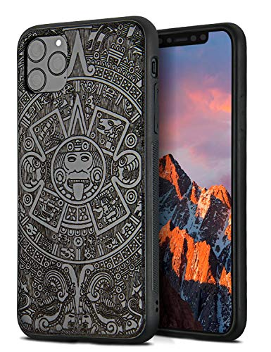 YFWOOD Compatible para Funda para iPhone 11 Pro MAX (6.5 Pulgada), Carcasa Madera Protectora Reforzado Cojín de Esquina Parachoques Case TPU Anti-Choque Case