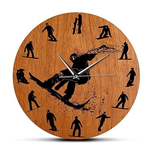 NIGU Reloj de pared moderno Snowboarders Siluetas de diseño moderno reloj de pared de invierno accesorio de esquí ilustraciones reloj de pared decoración esquiador regalo