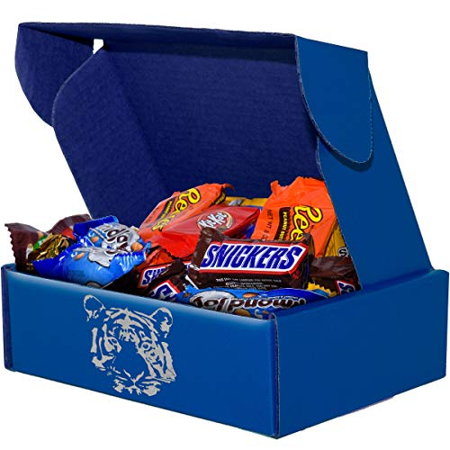 Milk Chocolate Candy (3 lbs) Gifts for Office by SupplyTiger with KitKat, 100 Grand, Peanut M&M's, Twix, Snickers, MilkyWay, Reese's, Almond Joy, York, and Milk Chocolate M&M's, 8x8x3 Blue Box