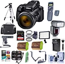 Nikon COOLPIX P1000 Digital Point & Shoot Camera - Bundle with Camera Case, 128GB SDHC U3 Card, 77mm Filter Kit, 2X Spare Battery, Tripod, Remote Shutter Trigger, Zoom Flash, Video Light, and More
