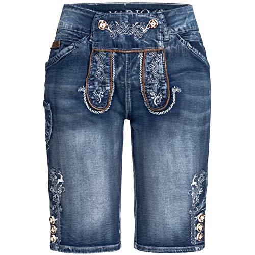 MarJo Trachten Herren Trachten-Mode Jeans-Lederhose Gustl Short in Blau, Größe:46, Farbe:Blau