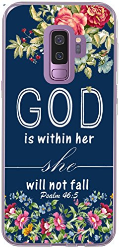Galaxy S9 Plus Case & MUQR Slim Silicone Rubber Protective Cover Compatible for Samsung Galaxy S9 Plus & Christian Bible Sayings God is Within Her She Will Not Fall