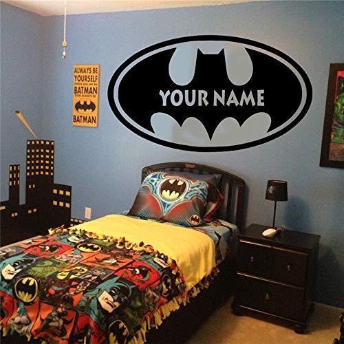 Dibujos animados Hollywood película superhéroe murciélago logo nombre personalizado calcomanía habitación de niños niño dormitorio vinilo pared pegatina decoración del hogar superhéroe arte mural