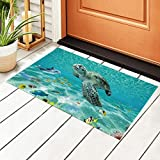 Underwater Fantasy Ocean Sand World Entrance Doormat, Waterproof PVC Welcome Door Mat w/Non-Slip Backing,Easy to Clean Stylish Outdoor Mat,Front and Back Door,Garage or Porch Entryway,Poolside,Patio