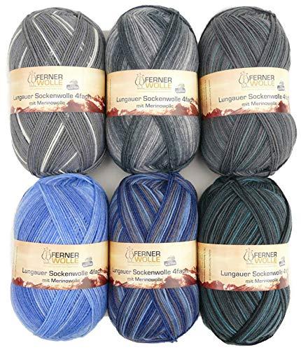 theofeel - Juego de ovillos de lana para calcetines (4 hilos, 6 ovillos de 100 g para hombre, 4 hilos)