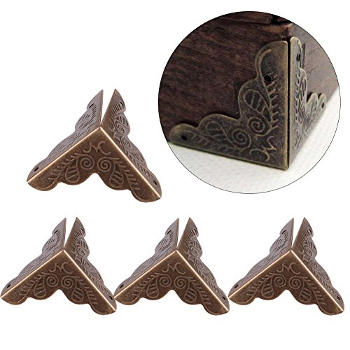 Haofy 12pcs Holz Box Schmuck Geschenk Fall Ecke dekorative Protektoren Iron Edge Cover Guard(Bronze)