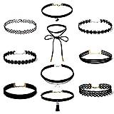 Gargantilla de Terciopelo 10 PCS Collares de Terciopelo, Choker Collares, Choker Terciopelo, Estilo Gótico Gargantilla Collar Negro, Conjunto de Collar de Clásico para Mujer Ajustable