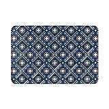 Alfombra de baño para el hogar, geométrica, azul, amarillo, abstracto, nórdico, otoño, bohemio, alfombra de ducha de 15.7 x 23.6 pulgadas