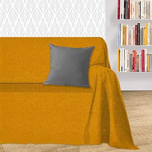 Byour3® Funda De Sofá Algodón 1 2 3 4 Plazas Ligero Granfoulard Tela Sofa Cubre Todo Protector De Sofás Forma de L U Chaise Longue Derecho Izquierdo Lavable (Calabaza Dakar, 4 plazas)
