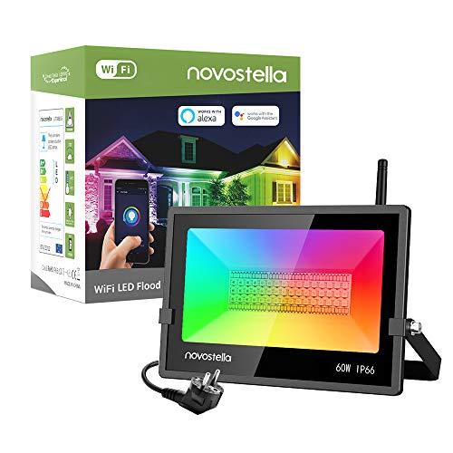Novostella Focos LED RGB WiFi Inteligente 60W, IP66 Impermeable 6000LM Luz LED de Exterior Control de APP, RGB con Blanca Luz 5000K, Iluminación Smart Compatible con Alexa y Google Home