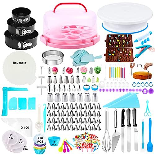 Gawren-H&E Cake Decorating Kit with Cake Carrier,599pcs Cake Decorating Supplies Kit with 74 Icing Tips,3 Springform Pans,Cake Serving Set,Fondant Tools,Cake Decorating Tools Set Baking Supplies Kit