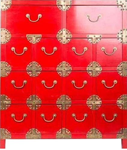 Fine Asianliving Chinese Ladekast met Vakjes Rood Chinese Kast Meubels Chinese Kasten Oosterse Meubelen Stijl CK-8002
