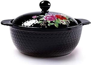 WZWHJ Black Enameled Ceramic Soup Pots Stewpot Stewing Casserole Ceramic Cooking Pot Ceramique