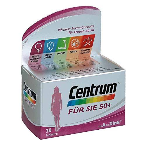 Centrum Generation 50+ Für Sie – Hochwertiges Nahrungsergänzungsmittel mit Mikronährstoffen – Speziell für Frauen ab 50 – Vitamine, Mineralstoffe, Spurenelemente – 1 x 30 Tabletten