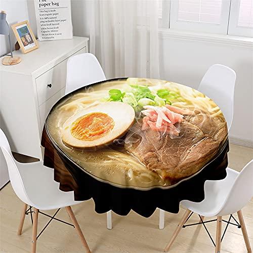 Chickwin Mantel Redondo con 3D Estampado Comida Gourmet, Mantel para Mesa Impermeable y Antimanchas, Mantel de Poliéster para Jardin, Comedor, Cocina, Salón Decoración (Ramen Japonés,200cm)