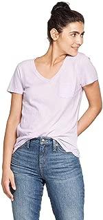 Women's Monterey Pocket V-Neck Short Sleeve T-Shirt Violet XL