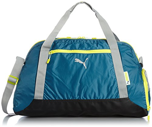 PUMA borsa donna Fit at Sports Duffle, Blue coral/lime Stone Gray/color Spring, 47 x 32 x 19 cm, 32 litri, 073407 02