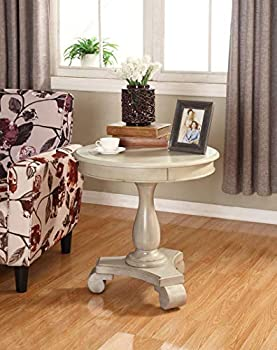 Roundhill Furniture OC0024WH Rene Round Wood Pedestal Side Table White