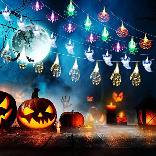 5 Pieces Halloween String Lights 10 LED Battery Operated Fairy Lights 5 Ft Halloween Decoration Lights with Pumpkin Ghost Bat Spider Design for Halloween Party Decor, House, Garden, Yard