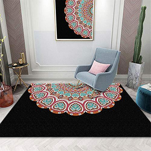 RUGYUW Alfombra Dormitorio Decoración de Estilo étnico con combinación de Color y Negro,Salón sofá Dormitorio Comedor Cocina baño Suelo algombra (6'7''X9'10''ft)