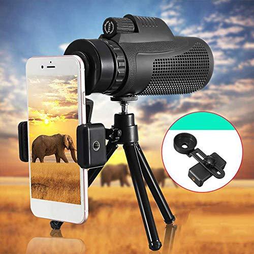 40X60 HD Zoom Telescopio monocular Viajes al Aire Libre Senderismo Lente de cámara telefoto + Soporte para teléfono + Trípode para iPhone XS MAX X XR