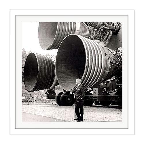 Fine Art Prints Space NASA Von Braun Saturn V F-1 Rocket Thrusters Foto Quadrata in Legno con Cornice da Parete, 40,6 x 40,6 cm