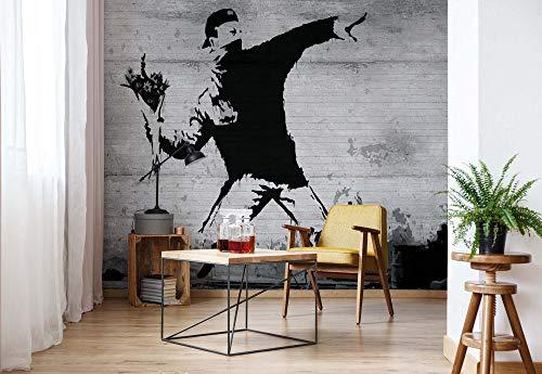 Banksy Graffiti Beton Vlies Fototapete Fotomural - Wandbild - Tapete - 254cm x 184cm / 2 Teilig - Gedrückt auf 130gsm Vlies - 3026V4 - Graffiti
