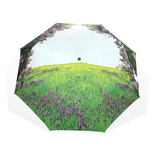 LASINSU Paraguas Resistente a la Intemperie,protección UV,Prado de Lavanda con túnel de Flores de Color Lila Paisaje de hábitat Inspirador de ensueño