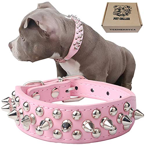 teemerryca Adjustable Leather Spiked Studded Dog Collars with a Squeak Ball Gift for Small Medium Large Pets Like Cats/Pit Bull/Bulldog /Pugs/Husky, Pink, XL 17.7-20.5 inches