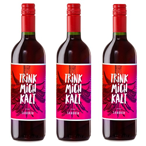 Spanische Sangria | TRINK MICH KALT Originalabfüllung | Das fruchtig-süße Kult-Getränk aus Spanien | Eiskalt genießen | Sparpaket mit 3 Flaschen