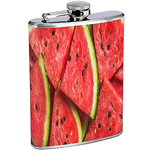 Strawberryran Frasco de Cadera de sandía Acero Inoxidable 7 oz Plata Bebidas Whisky Licor Vino