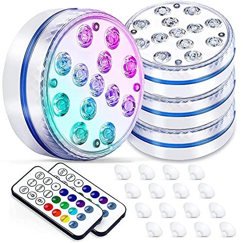 BOZHZO Luces Piscina Sumergible LED, Luz LED Piscina 13 LED Impermeable IP68 16 color RGB, Iluminación 30-50 horas, Para Jardín/Acuario/Florero/Bañera/Piscina/Spa/Boda/Fiesta(4 Piezas)