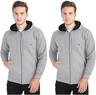 Quco Men's Cotton Fleece Hood Sweat Shirt Combo Pack of 2- (G.Mel)