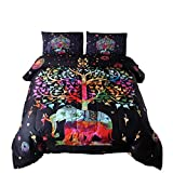 Meeting Story 3PC India Bohemian Comforter Bedspread Elephant,with Colorful Tree Boho Mandala Microfiber Quilt Bedding Sets (Black-Multi)