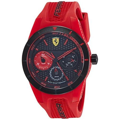 Scuderia Ferrari 0830258 Orologio da Uomo Analogico Multi-Quadrante al Quarzo con Cinturino in Silicone Rosso