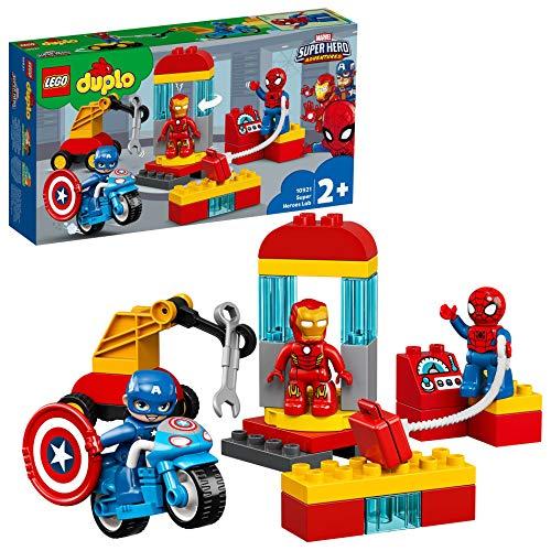 LEGO 10921 DUPLO Iron Mans Labor-Treffpunkt Set mit einer Spider-Man-, Iron Man- und Captain America-Figur, Set für Kleinkinder ab 2 Jahren