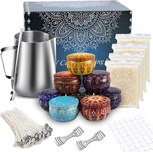 Kerzenherstellung Kit, DIY-Starter-Kit für Kerzenanfänger, einschließlich Kerzenglas, Kerzentopf, Kerzenwocherei, Bienenwachs, Kerzenwocherei, Löffel und Kerze Wick-Aufkleber ( Color : Christmas )