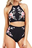 SEASELFIE Women's High Neck Halter Swimsuits 2 Piece Floral Bikini Bathing Suits with High Waisted Bottom, Black, M