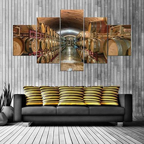 Gxucoa 5 Piezas Lienzo Poster Vino HD Arte De La Pared Impresa Decoración Dormitorio El Hogar Pintura De La Lona Foto