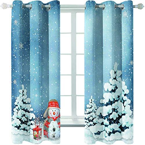 MMHJS Cortinas con Estampado De Árboles De Navidad 3D, Sombreado, Impermeables, Aislantes del Calor Y Cortinas Cálidas para El Dormitorio Y La Sala De Estar, Artículos Domésticos