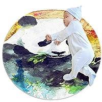 ベビーラウンド用プレイマット、クロールマットカーペットヨガエクササイズマット瞑想マット家の装飾滑り止めペットラグ水彩パンダを食べる