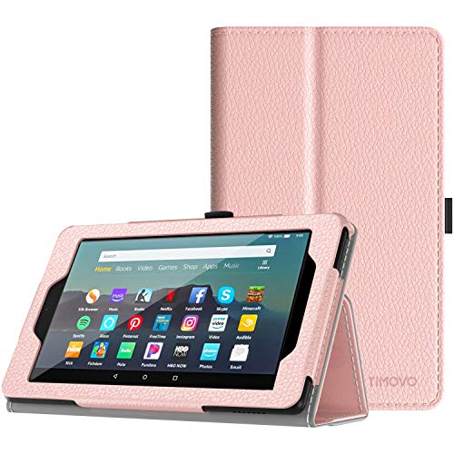 TiMOVO Funda Compatible con All-New Fire 7 Tablet (9th Generation - 2019 Release), PU Cuero Ultra Slim Funda con Función de Soporte Plegable Smart Cover Stand (Auto Sueño/Estela) - Oro Rosa