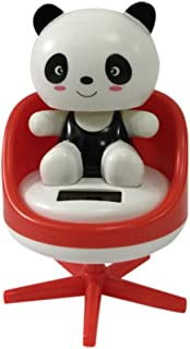 Solar Powered Dancing Fun Bobblehead Toy, Cute Cartoon Animal Swinging Animated Bobble Dancer Toy for Car Dashboard and Office Desk (Panda - red)