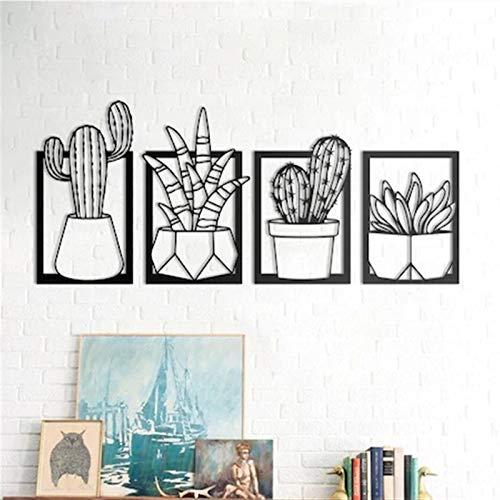 Etiqueta de pared universal Mural de decoración de 4 piezas Cactus Metal Marco de Metal Lienzo Botánico Imágenes para la sala de estar Decoración del hogar Pared Colgando Placa Estilos nórdicos Dibujo