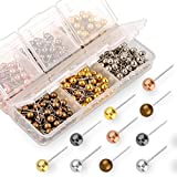 Yalis Push Pins Map Tacks 1/8-Inch Retro Metallic Color Beads Head Marking Pins, 6 Colors, 360-count