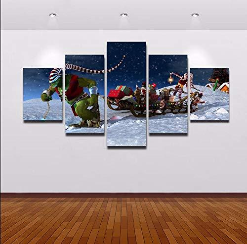 Mxsnow 5 Cuadro sobre Lienzo Marco De Madera Mural Impresiones En Lienzo Trineos Decorativos de Navidad Pintura...