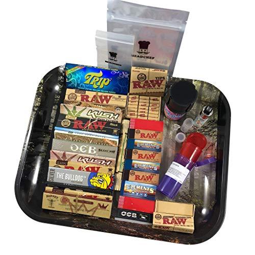 BIGSMOKESUPPLIES Large RAW Rolling Smoking TRAY Set - Smokers Hamper Gift Set Kit