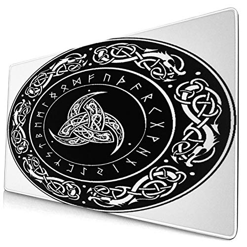 CANCAKA Large Gaming Mouse Pad,Gothic Triple Horn of Odin Decorated Scandinavic Ornaments and Runes Norse Amulet,Non-Slip Rubber Mouse Pads Mousepad for Gaming Computer Office Desk,75×40×0.3cm