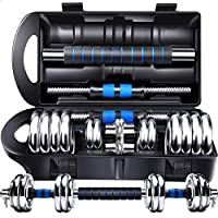 York Chrome Dumbbell Set With Connecting Rod, 15 Kg - Blue Silver