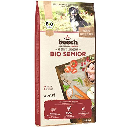 bosch HPC BIO | Senior Hühnchen & Preiselbeere | Hundefutter für ältere Hunde aller Rassen | 100 % landwirtschaftliche Rohstoffe aus nachweislich biologischem Anbau | 1 x 11.5 kg